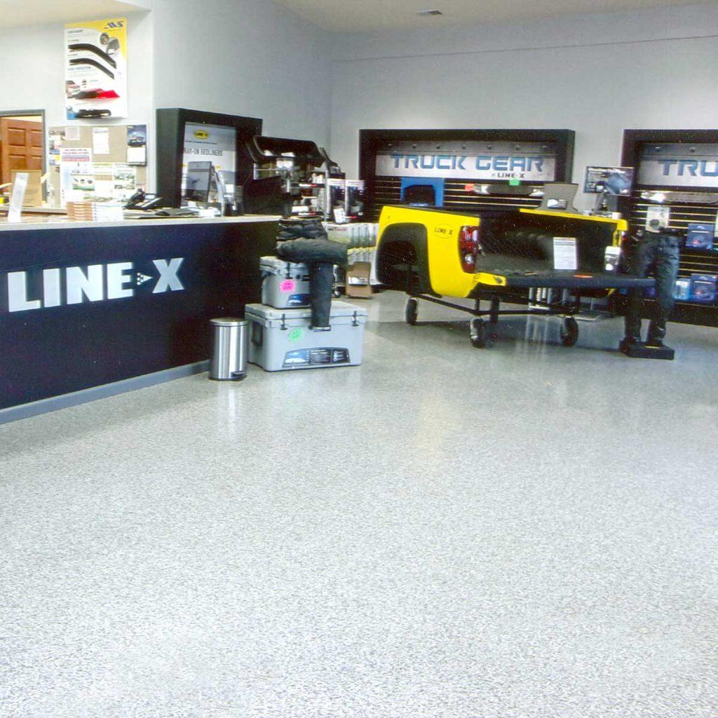 Duralast floor coating on showroom floor